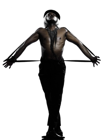 one  african man dancer dancing cabaret burlesque on studio isolated white background Stock Photo - 11752579