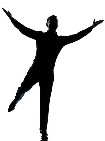 silueta humana: uno caucásica hombre de negocios felices brazos se extienden silueta de cuerpo entero en el estudio aislado sobre fondo blanco Foto de archivo