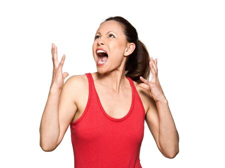 woman screaming: Portrait of expressive angry woman looking up and screaming in studio isolated on white background