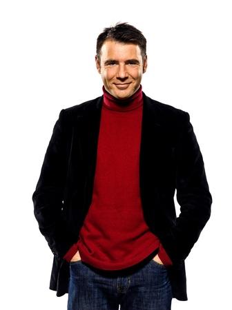 bel homme: un homme caucasien beau portrait gai souriant regardant la cam�ra dans les mains portrait en studio de poche sur fond blanc isol� Banque d'images