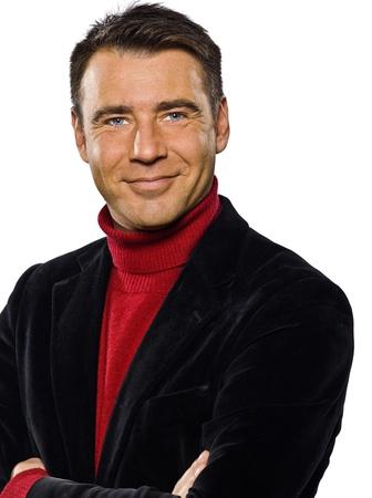 mature adult men: uomo caucasico bel ritratto sorridente le braccia incrociate seduttore cheerfull ritratto in studio isolato su bianco backgound