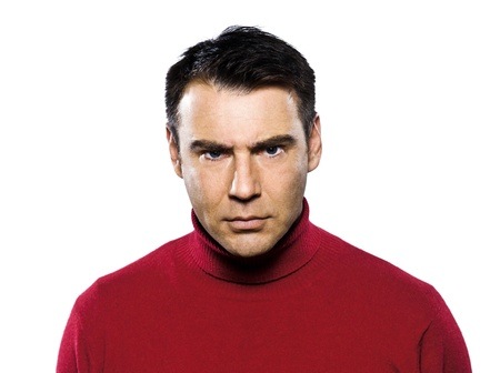 annoyance: caucasian man anger frowning displeased studio portrait on isolated white backgound