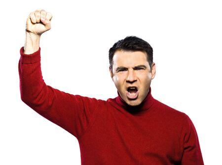 caucasian man revolt man raising fist gesture studio portrait on isolated white backgound photo