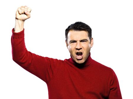 gesturing: caucasian man revolt man raising fist gesture studio portrait on isolated white backgound