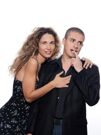 caucasian couple portrait seduction isolated studio on white background