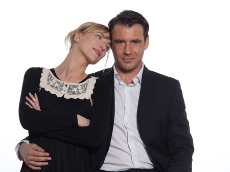beautiful caucasian couple on studio white background photo