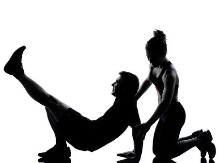 one couple man woman exercising workout aerobic fitness posture full length silouhette on studio isolated on white background Stock Photo - 11752601