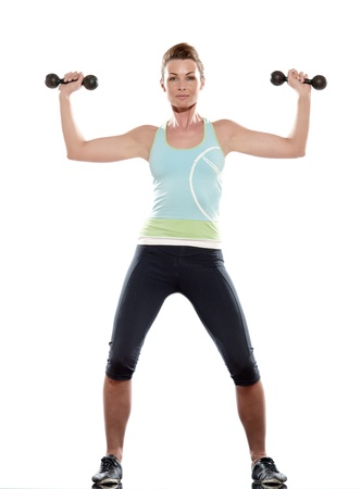 woman doing workout on white isolated background photo