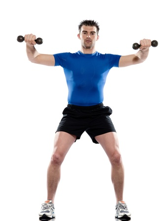 men exercising: man weight training Worrkout Posture on white isolated background