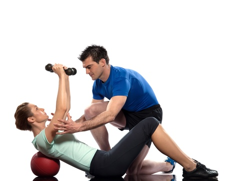 couple exercising workout on white background with weights photo