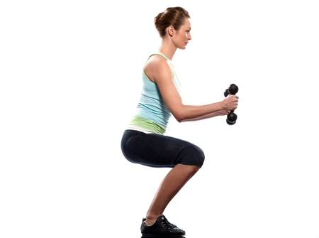 squat: woman exercising workout on white background Stock Photo