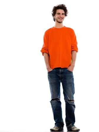태도: 흰색 배경에 스튜디오에서 젊은 표현 백인 남자가 초상화 스톡 사진