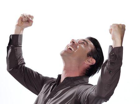 triumphant: man portrait success triumphant happy studio isolated on white background