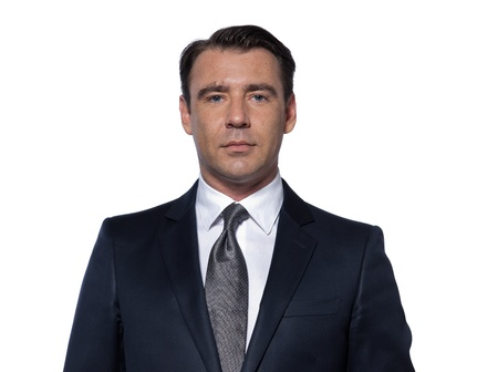 handsome caucasian man portrait isolated studio on white background with suit photo