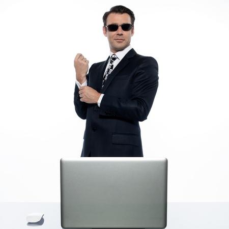 arrogant: man computer pirate caucasian in studio isolated on white background