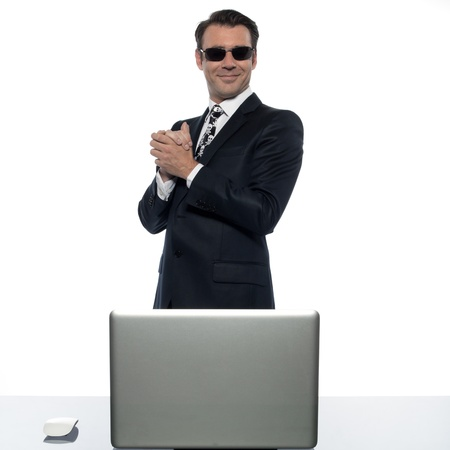 man computer pirate caucasian in studio isolated on white background photo