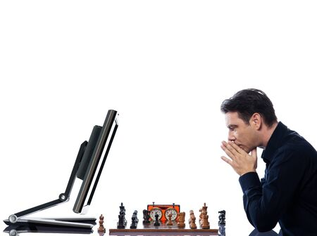 caucasian man playing chess with computer mindful concept on isolated white background photo