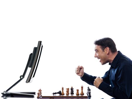vanquish: caucasian man winning chess against computer concept on isolated white background Stock Photo