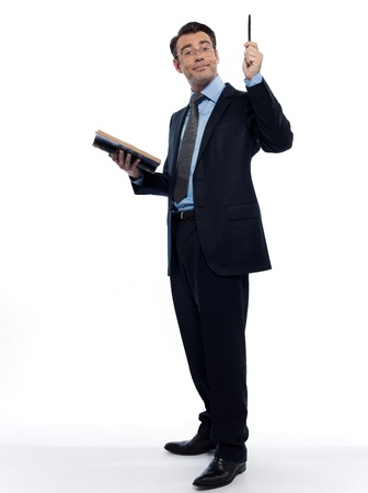 professor: one man caucasian professor teacher teaching  reading an ancient book isolated studio on white background Stock Photo