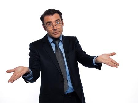 hesitancy: man caucasian teacher professor lecturing defeat isolated studio on white background