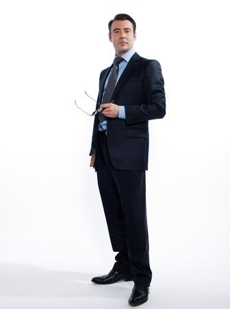 arrogancia: el hombre caucásico profesor profesora conferencias de estudio aislado sobre fondo blanco Foto de archivo