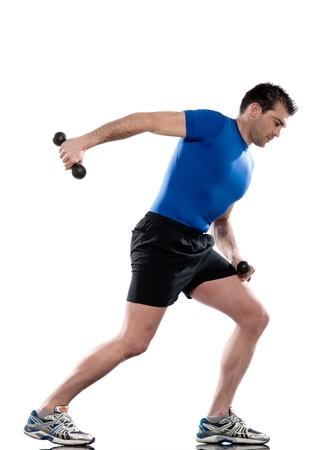hombre haciendo ejercicio Estocadas extensi�n de tr�ceps en el fondo aislado blanco. Foto de archivo - 12710753