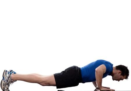 12710710 - Hombre haciendo flexiones abdominales entrenamiento postura  sobre fondo blanco aislado 34dcdb135580