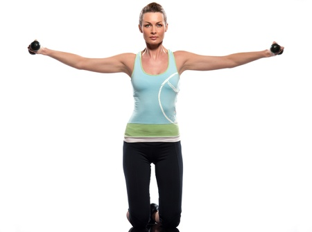 woman posture: woman exercising workout on white background with weights