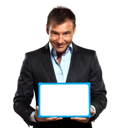 one caucasian business man holding showing whiteboard in studio isolated on white background Stock Photo - 12896753