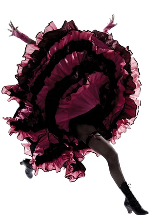 woman dancer dancing french cancan in studio isolated on white background Stock Photo - 12896791