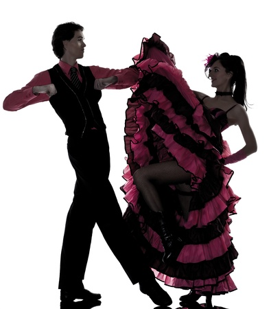 couple man woman dancer dancing french cancan in studio isolated on white background photo