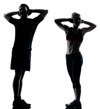 one couple man woman exercising workout aerobic fitness posture full length silhouette on studio isolated on white background photo