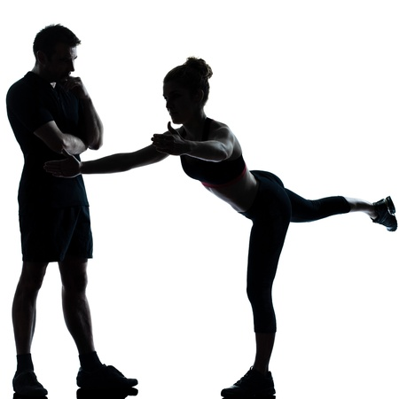 one couple man woman exercising workout aerobic fitness posture full length silhouette on studio isolated on white background Stock Photo - 12880625