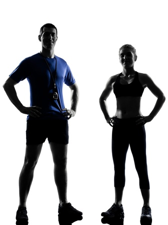 back exercise: couple woman man exercising workout fitness aerobics instructors posture in silhouette studio isolated on white background