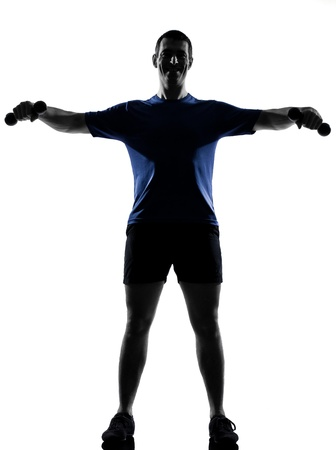 man exercising workout fitness aerobics posture in silhouette studio isolated on white background Stock Photo - 12970452