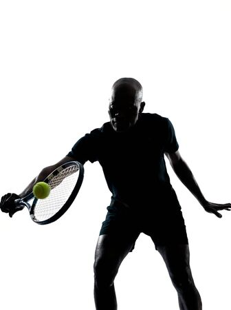backhand: man african afro american playing tennis player backhand, on studio isolated on white background