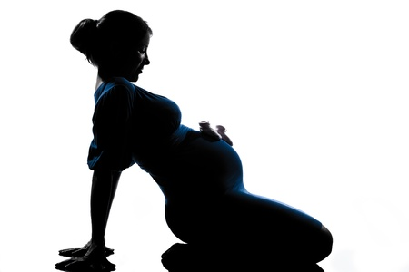 beautiful caucasian pregnant woman in full length silhouette on studio isolated white background photo