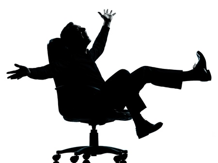 cheerful businessman: one caucasian business man happy joy  silhouette Full length in studio isolated on white background