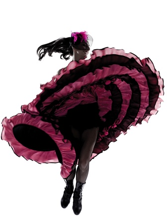 woman dancer dancing french cancan in studio isolated on white background Stock Photo - 13339646