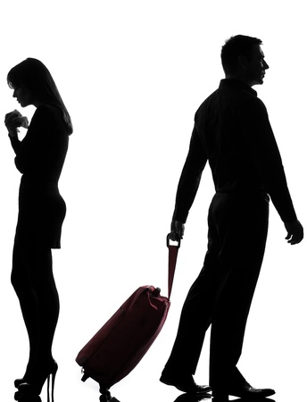 full length woman: one caucasian couple man and woman dispute separation in studio silhouette isolated on white background