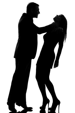 strangulation: one caucasian couple man strangulate woman expressing domestic violence in studio silhouette isolated on white background