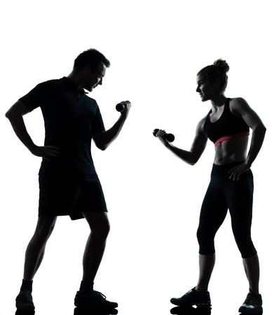 couple lit: un hombre, mujer, pareja de ejercicio de entrenamiento de la aptitud aer�bica silueta de la postura de cuerpo entero en el estudio aislado en fondo blanco