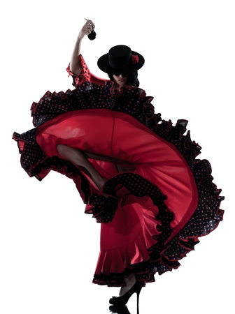 one woman gypsy flamenco dancing dancer on studio isolated white background photo