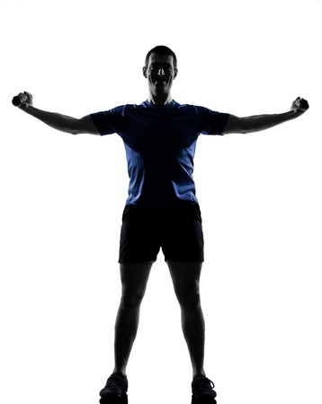 man exercising workout fitness aerobics posture in silhouette studio isolated on white background Stock Photo - 13339234