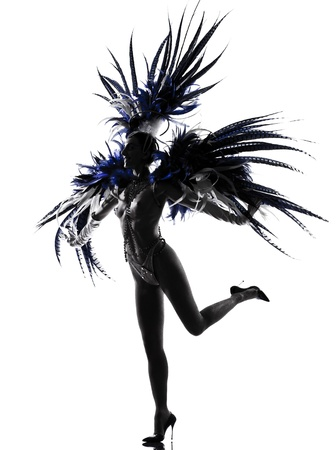 showgirl: woman showgirl dancer revue dancing in studio isolated on white background