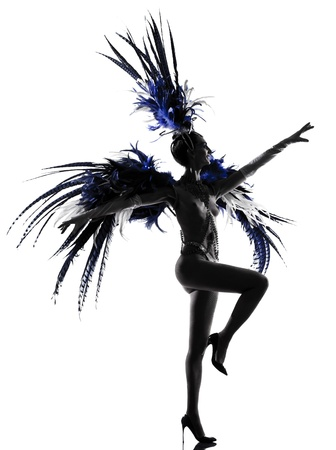 woman showgirl dancer revue dancing in studio isolated on white background photo