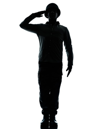 civilian: one caucasian army soldier man army soldier man saluting on studio isolated on white background