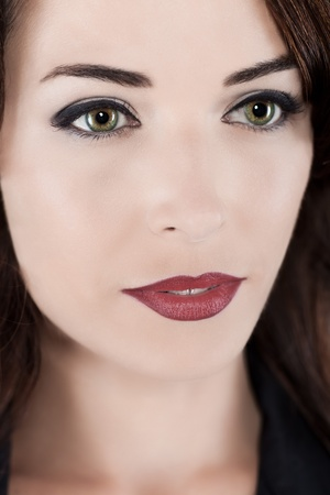 Closeup portrait of a thoughtful beautiful woman with green eyes and red lips photo