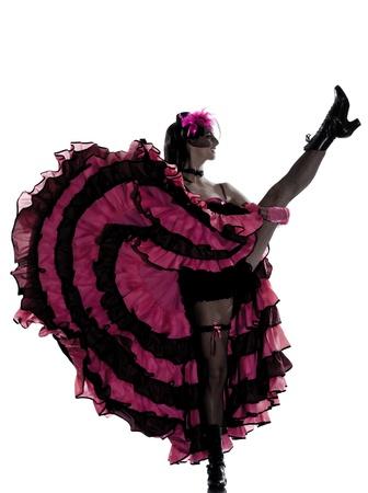 Frau Tänzer tanzen Cancan Französisch im Studio isoliert auf weißem Hintergrund