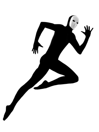 performer man mime with mask  running jumping on studio isolated on white background photo